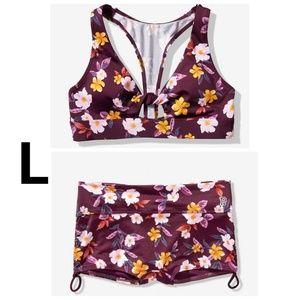 VS PINK Gym To Swim Set L Luscious Plum Floral